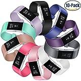 Mornex Fitbit Charge 2 Bracelet,Lot de 10 Bande en TPU Silicone Souple Sangle de Remplacement Reglables Sport Accessorie pour Fitbit Charge 2