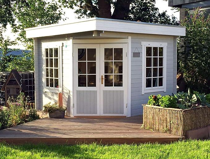 Alpholz Monica-28 - Caseta de jardín de 5 Esquinas, con Techo Plano, 28 mm de Grosor de Pared (300 x 300 cm): Amazon.es: Jardín