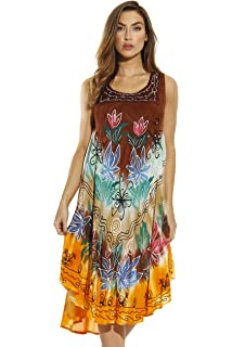 d4c8ddd4107 Riviera Sun Tie Dye Summer Dress with Floral Hand Painted Design at ...