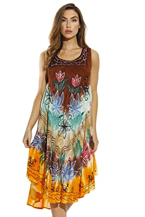 ce05f3f11f Riviera Sun Tie Dye Summer Dress with Floral Hand Painted Design at ...