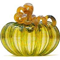 Luke Adams Glass | 5″ Squat Glass Pumpkin | Handmade Table Top Home Décor | Outdoor Collectible Sculpture (Autumn Green)