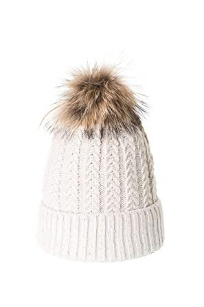 Bonnet à pompon Tricoté Fourrure Marmotte Strass Beige ... 5456255a95c