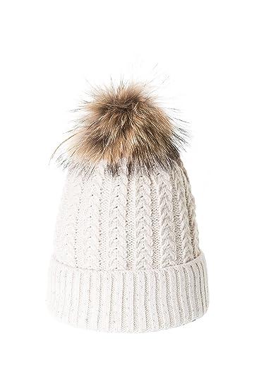 ColmagBoutique Bonnet à Pompon Femme Chapeau Hiver Tricoté Fourrure  Marmotte Avec Strass  Amazon.fr  Vêtements et accessoires f698577c7924