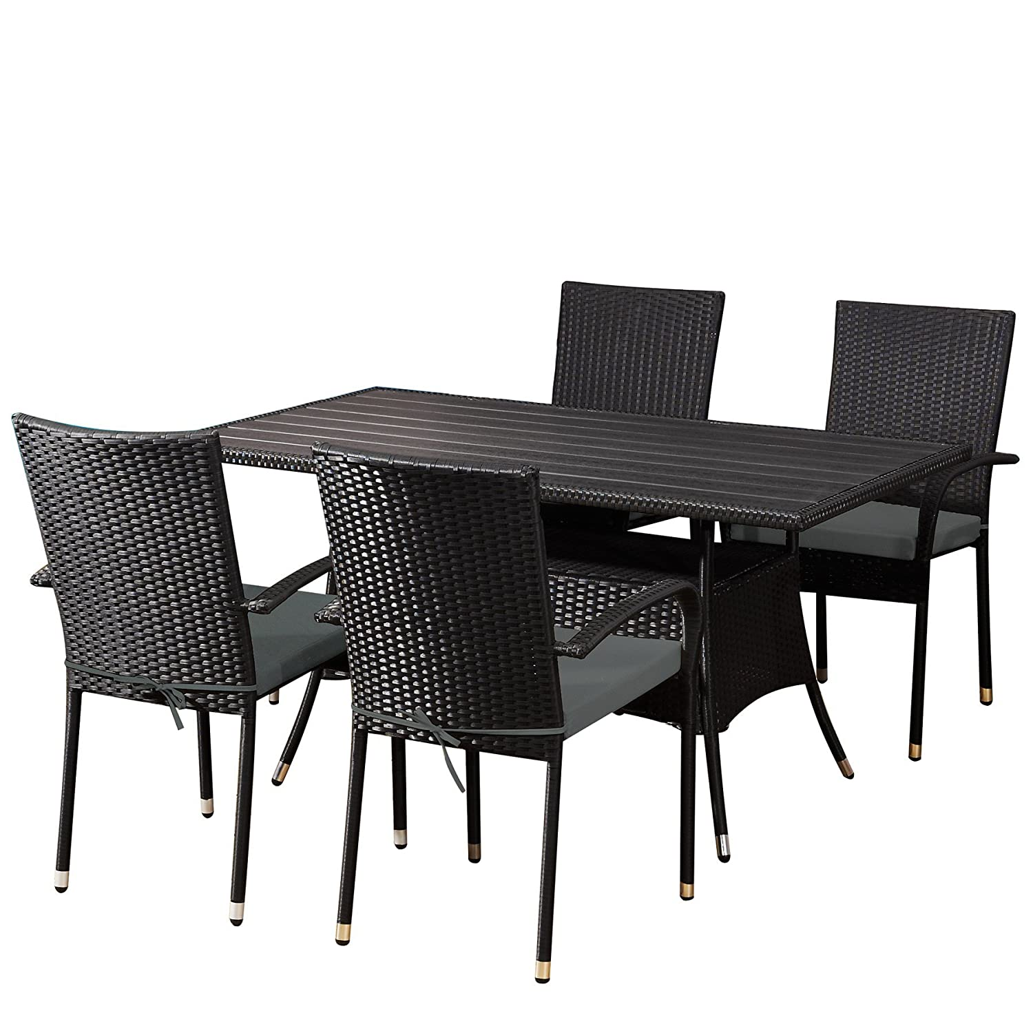 garten set lanzarote in schwarz gartenm bel essgruppe dining set aus polyrattan von jet line g nstig. Black Bedroom Furniture Sets. Home Design Ideas