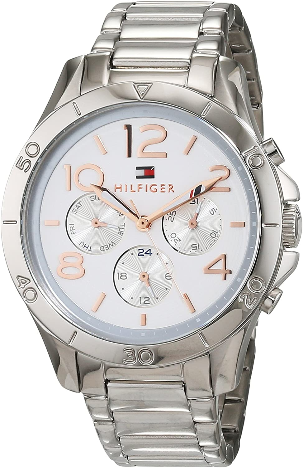 Tommy Hilfiger Ladies Watch 1781526 Cronógrafo - Pulsera: Plata Acero Inoxidable - Dial Silver White