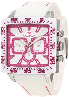 Viceroy Womens 432101-95 Pink White Square Rubber Date Watch