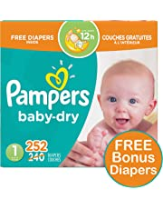 Pampers Diapers Size 1, Baby Dry Disposable Baby Diapers, 252 Count PLUS LIMITED TIME BONUS DIAPERS