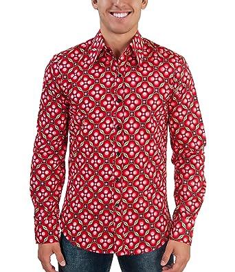 best sneakers 6d9e3 30388 Chenaski 70er Blumen Retro Muster Hemd rot L: Amazon.de ...
