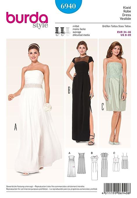 Burda - Patrón de costura para vestido de noche? Vestido de novia ...