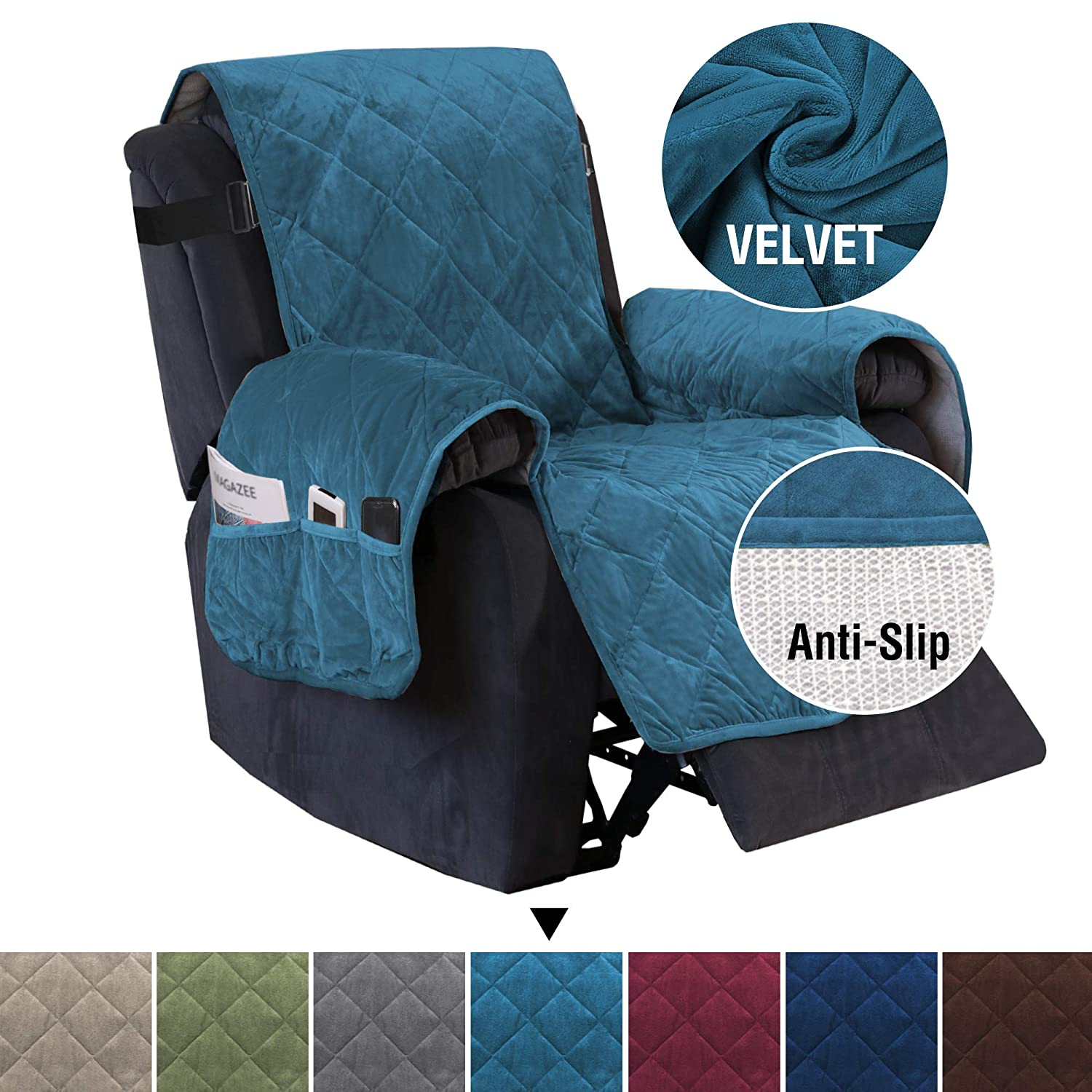 """H.VERSAILTEX Slip Resistant Velvet Recliner Slipcover for Recliner, 2"""" Adjustable Straps Quilted Furniture Protector with Side Pockets, Thick and Soft Quilted Seam Recliner Protector (Peacock Blue)"""
