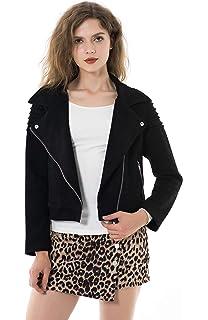 Auwer Womens Slim Moto Biker Zipper Short Coat Jacket Retro ...