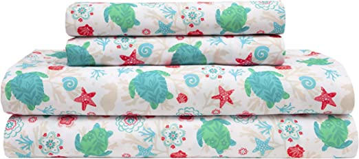 Polyester Microfiber Burnt Coral Queen Size Coastal Beach Printed Bed Sheet Set