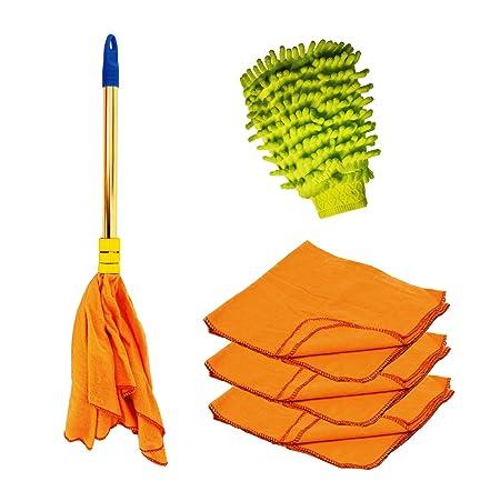 Vimal Dust Cleaning Combo Set of Golden Handle Duster Dust Mop (1 Pc) + Hi-Density Flannel Cloths (3 Pc) + Microfiber Mitt Hand Glove (1 Pc)