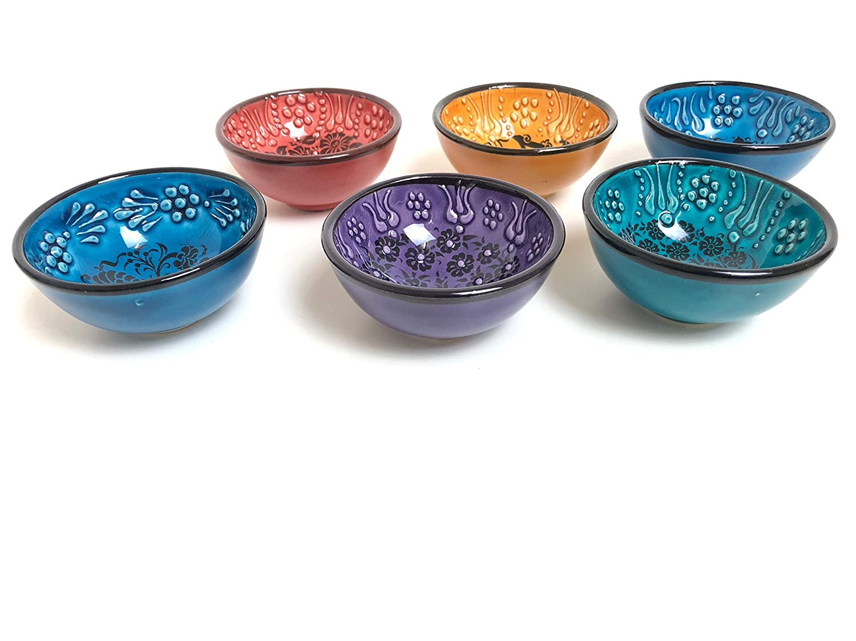 Handmade Ceramic Dipping Set of Six Golden Horn