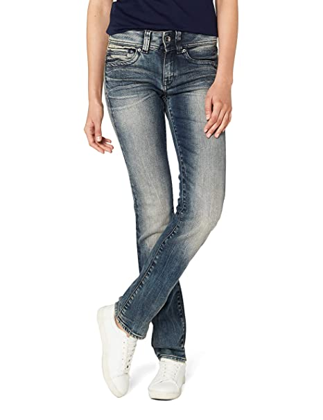 G STAR RAW Damen Midge Saddle Mid Waist Straight Jeans, Blau (medium Aged 8591 071), 29W 32L