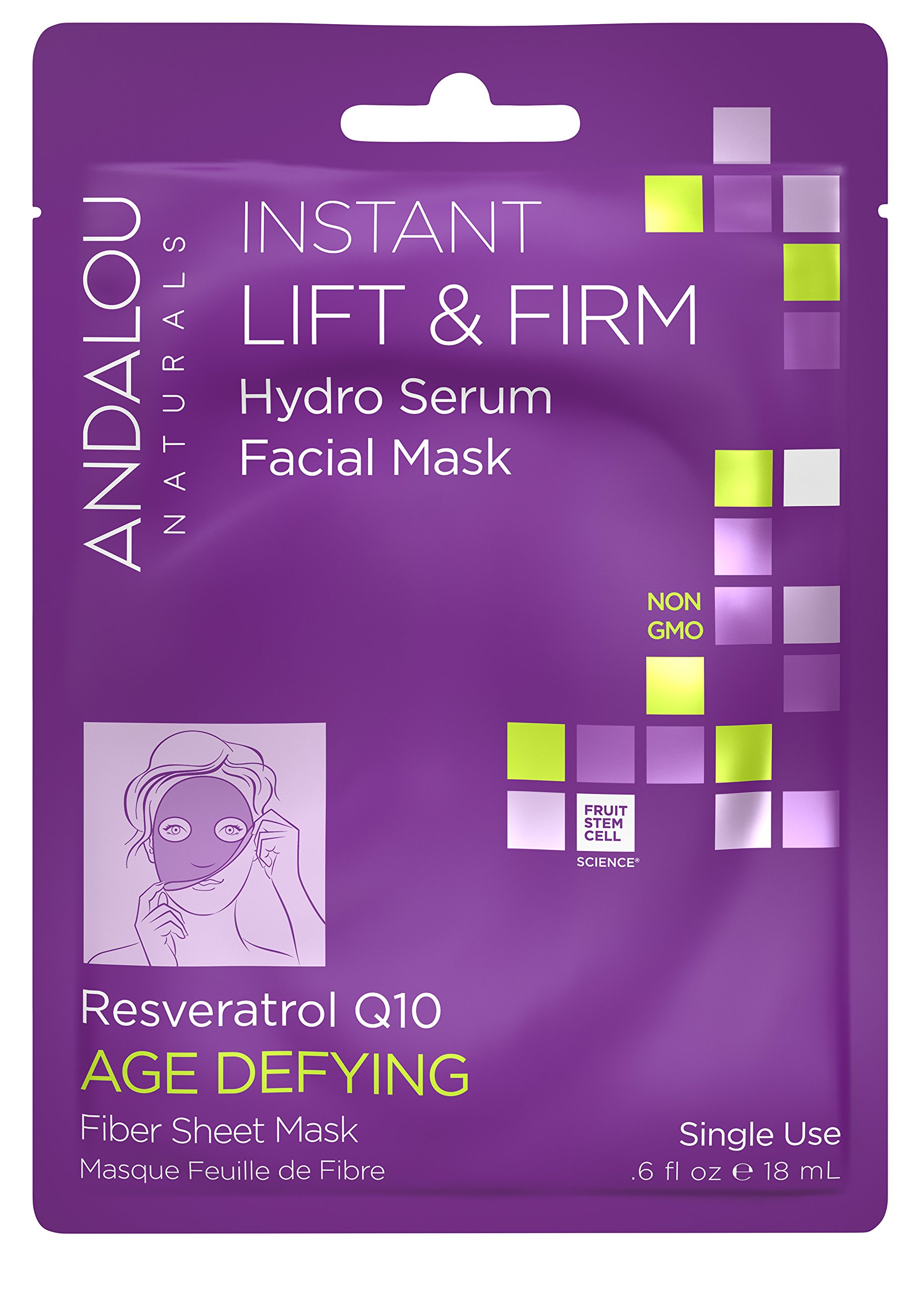 Andalou Naturals Instant Lift & Firm Hydro Serum Facial Mask, 0.6 fl. oz, Single Use Sheet Facial Mask with Resveratrol Q10, Hydrates, Firms, Smooths, and Plumps for Younger, Healthy Looking Skin