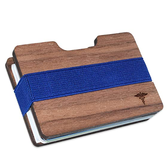 Caduceus Medical Symbol Slim Minimalist Mens Wooden Wallet