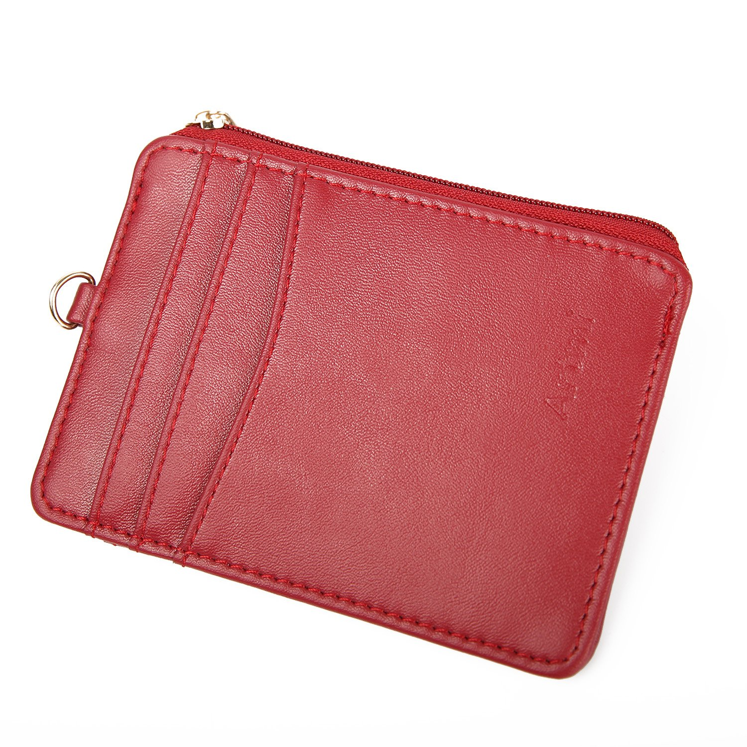 Women Wallet RFID Card Holder Card Case Fashion Credit Card Case with Key Ring (Red) AW051-3