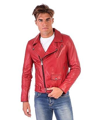 2a76435dd2a D Arienzo - CHIODO Biker • Couleur Rouge • Blouson Cuir Homme Perfecto Cuir  d