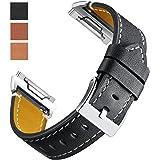 Cinturino Per Fitbit Ionic, Cinturino Mornex Classico in Vera Pelle Con Connettori in Metallo, Cinturino Accessorio Per Uomo e Donna, Grande&Piccolo, Nero