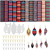 Mexican Serape Leather Earring Making Kit - 6 PCS Earring Die Cuts, 12 PCS Faux Leather Sheets and Accessories for DIY…