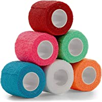 Vet Wrap - (Pack of 6-2 inch x 5 Yard Rolls) Self Adherent Wrap Cohesive Compression Bandage and Medical Gauze Bandage…