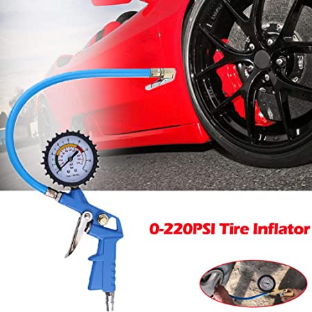 220PSI Auto Car Bicycle Tire Pressure Gauge Meter Air Inflator Flexible Hose Clode/® Tire Air Pressure Gauge