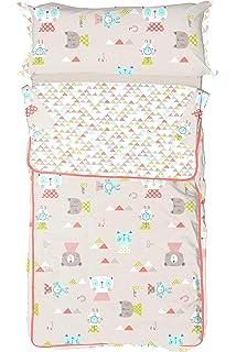 Burrito Blanco Saco Nórdico Infantil 006 con Cremallera y Relleno Diseño de Animales y Triángulos para
