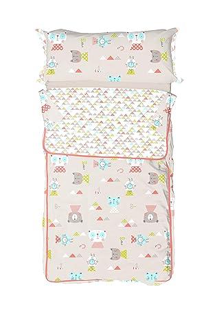 Burrito Blanco Saco Nórdico Infantil 006 con Cremallera y Relleno Diseño de Animales y Triángulos para Cama de 90 x 190 cm hasta 90 x 200 cm, ...