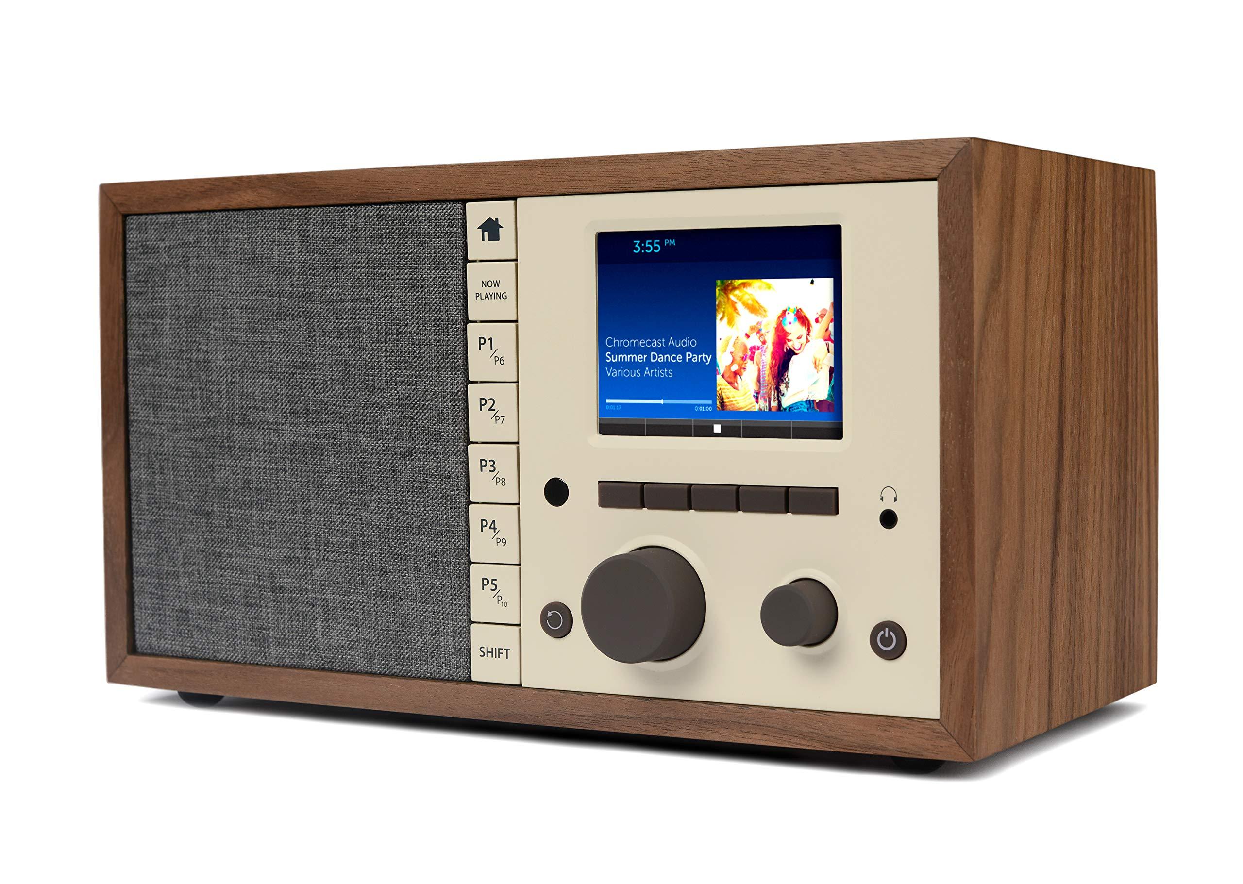 Grace Digital Mondo+ Classic Wireless Internet Radio with Wi-Fi, Bluetooth and Qi Built-in Wireless Smartphone Charger Walnut (GDI-WHA6005) by Grace Digital