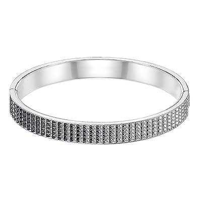 Swarovski Bracelet,jonc Luxury, noir, métal rhodié