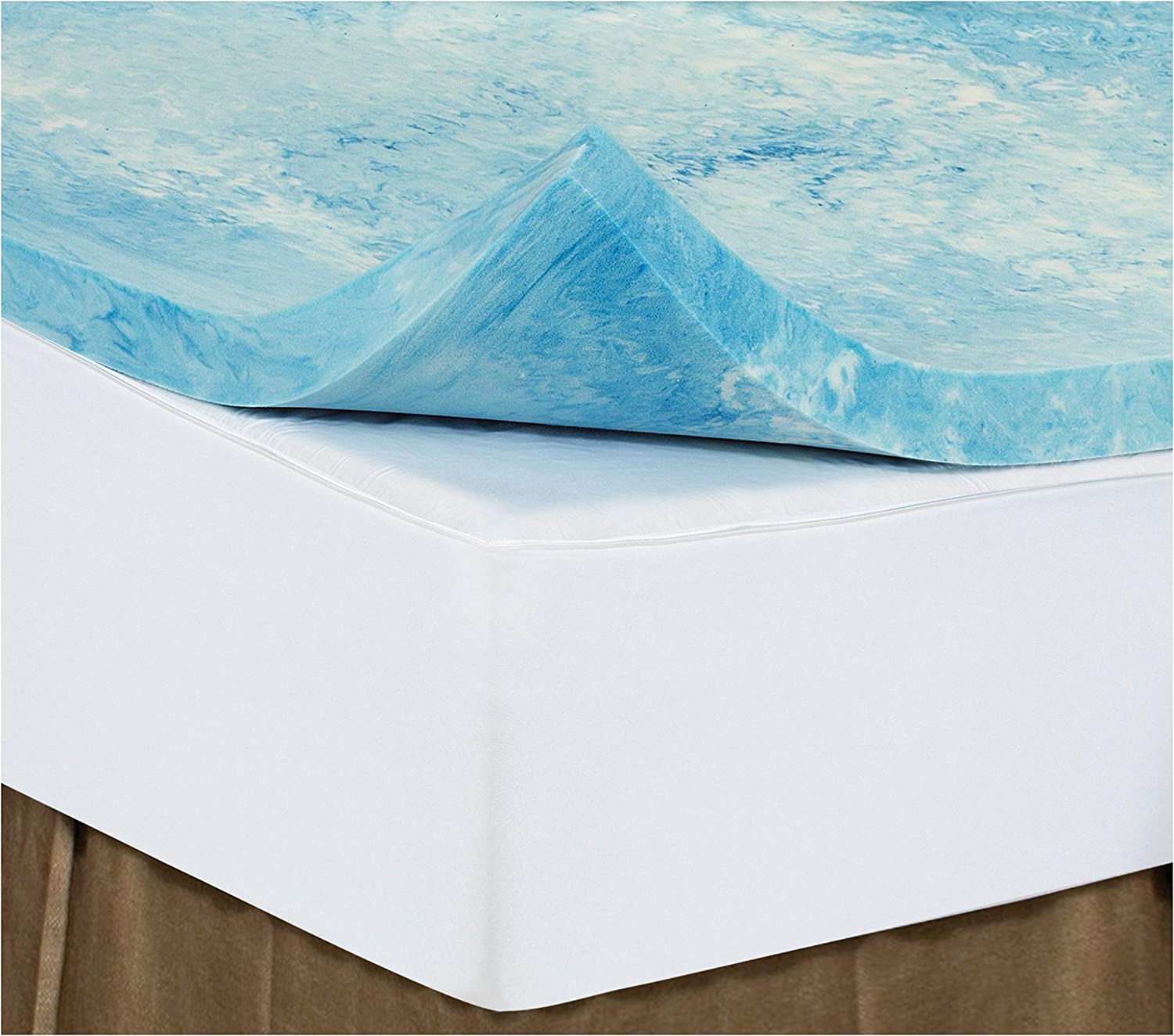 King 2 Inch iSoCore Gel Infused Swirl 6.0 Memory Foam Mattress Topper with Expandable Cover and Contour Pillow Included