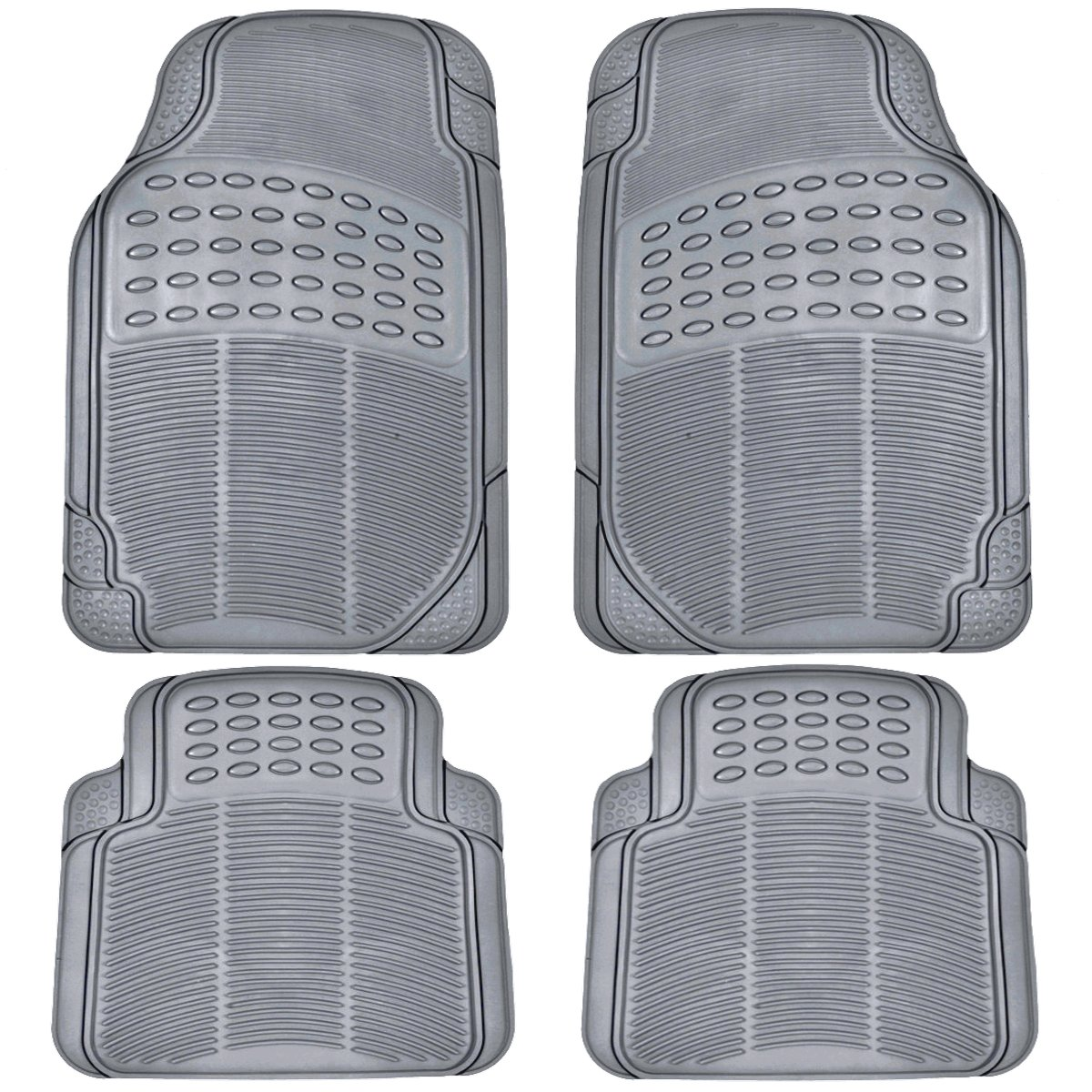 BDK All Weather Rubber Floor Mats for Car SUV & Truck - 4 Pieces Set (Front & Rear), Trimmable, Heavy Duty Protection (Grey) by BDK