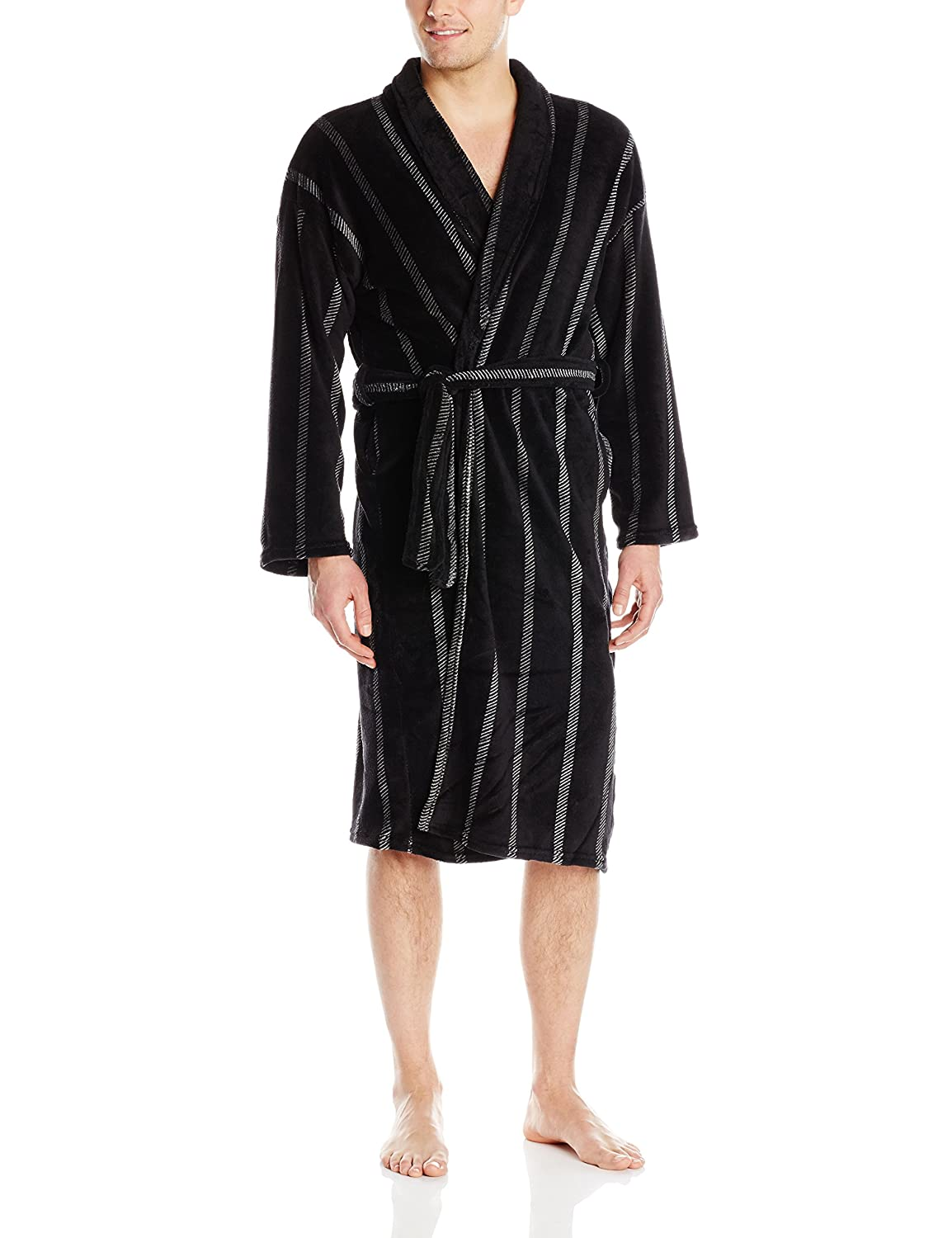 Essentials by Seven Apparel Men's Plaid Plush Bathrobe Black/Blue One Size AMZ-2814