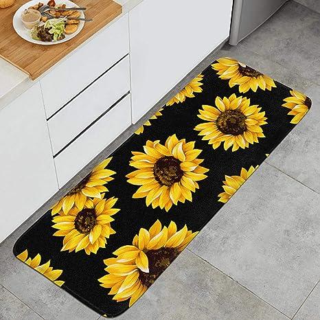 Beautiful Yellow Sunflower Print 47 18 Long Kitchen Mat Microfiber Rubber Backing Anti-Slip Water-Absorbent Anti-Fatigue Memory Foam Kitchen Rugs