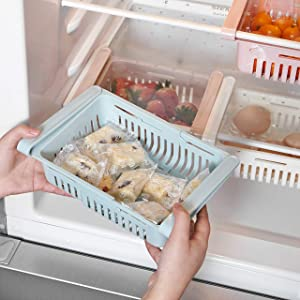 "STARSLIFE Retractable Drawer Type Refrigerator Storage Box Food Fresh-keeping Classified Organizer Container Basket Fridge Shelf Holder Plastic Storage Bins, Fit for Fridge Shelf Under 0.5"" - Blue"