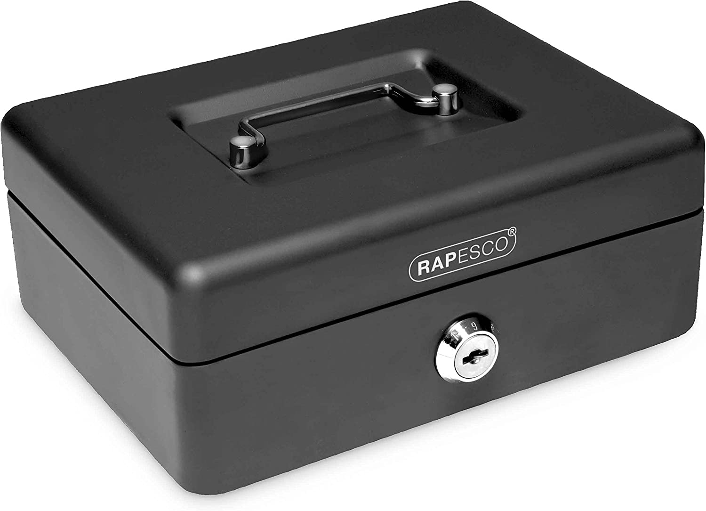 Rapesco money - Caja fuerte portatil de 30 cm de ancho con portamonedas interior, color negro