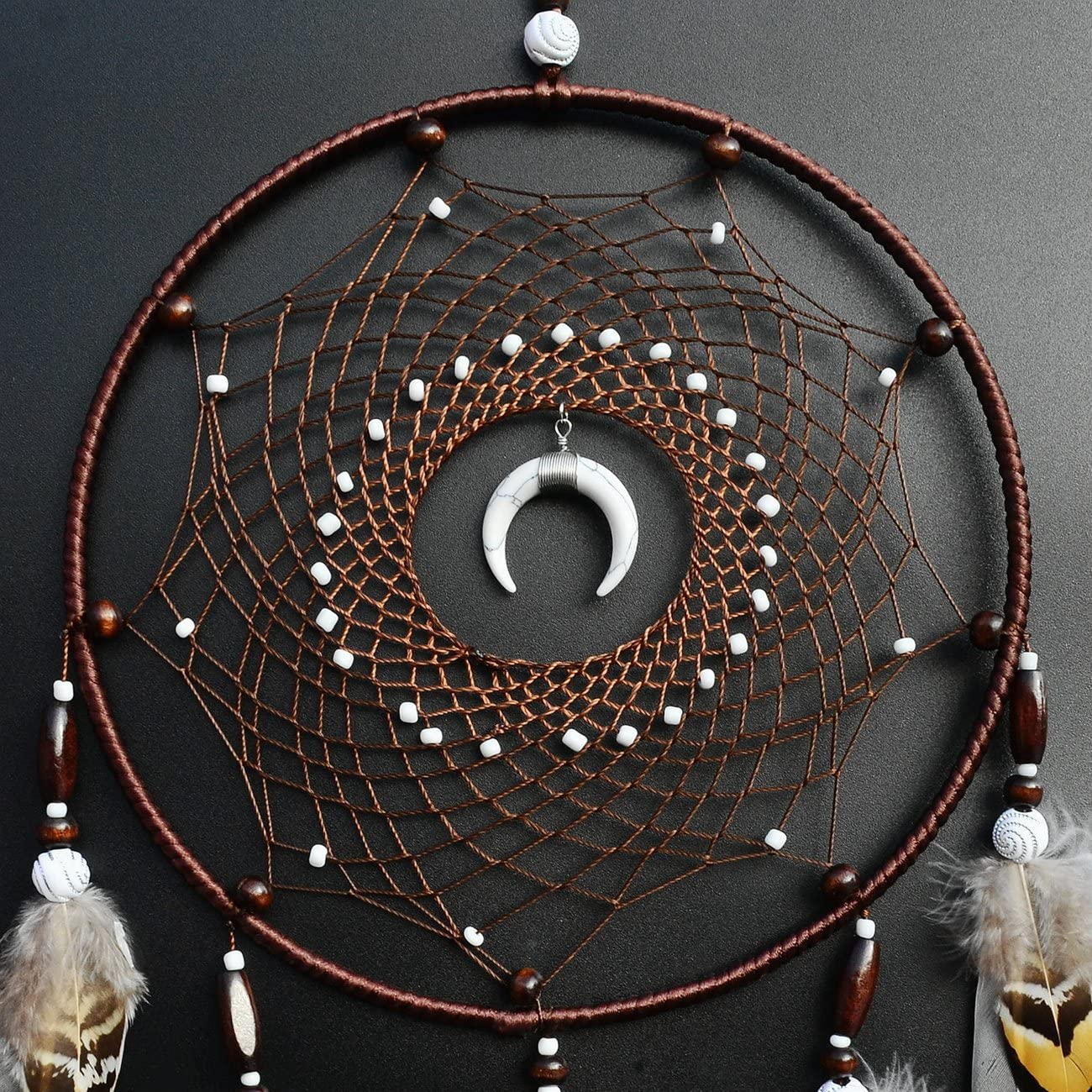 Littlear Dream Catcher Handmade Wall Hanging Decor Large Dream Catchers with Feathers Dia 7.9 NO.9