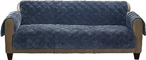 SureFit Plush Comfort Non Slip Backing-Storm Blue Sofa Furniture Protector