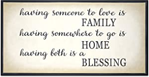 Homekor Family Home Blessing Inspirational Quote -Having Someone To Love Is Family, Having Somewhere To Go Is Home, Having Both Is A Blessing- Hanging Wall Art Decor Sign - Framed Canvas Print 24 x 12