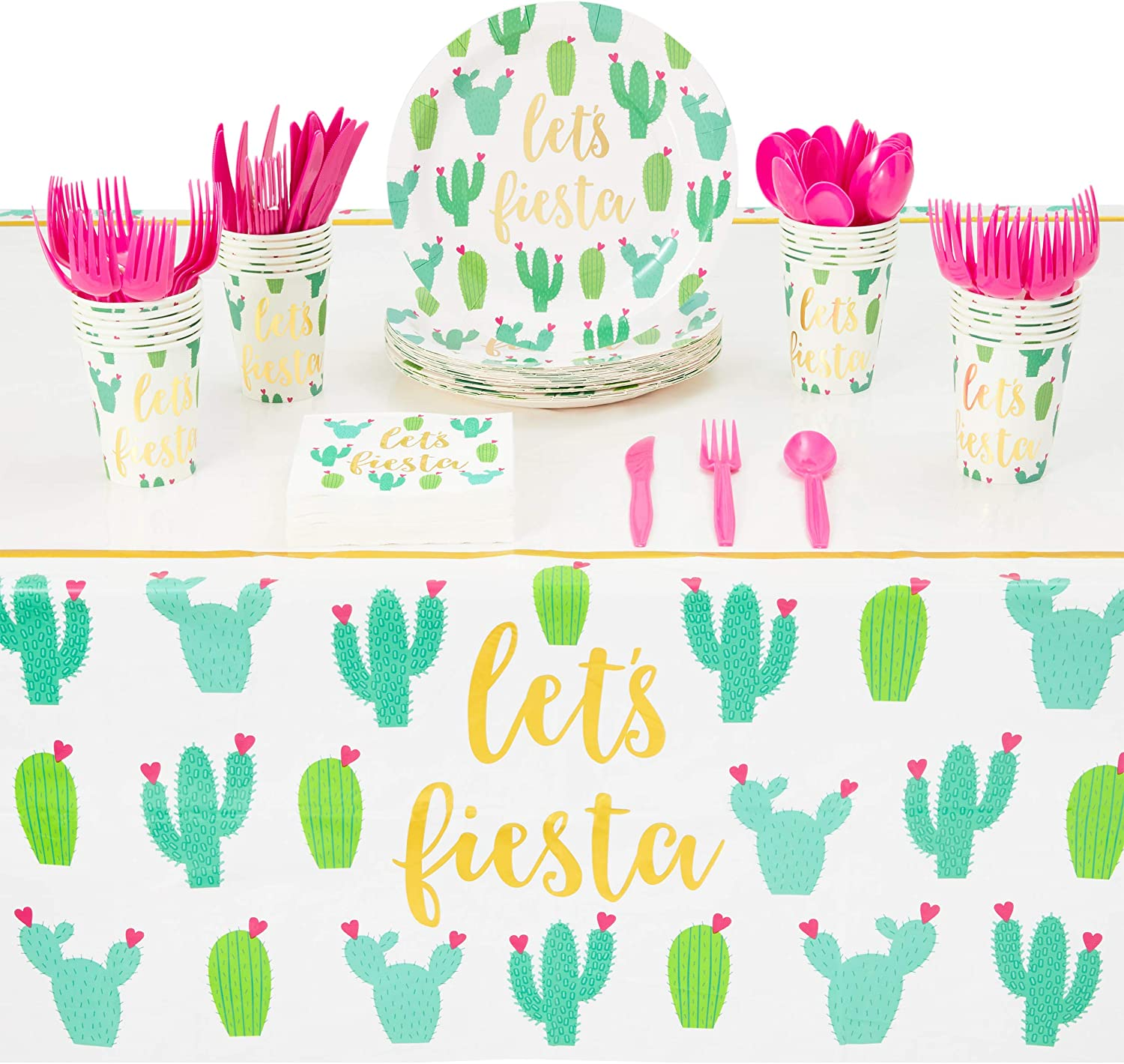 Fiesta Party Supplies, Disposable Tableware (Serves 24, 145 Pieces)