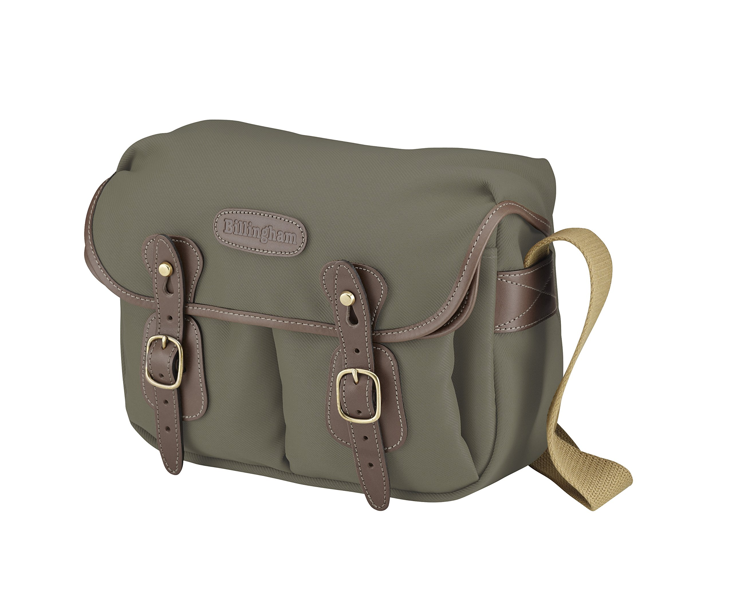 Billingham Hadley Small Shoulder Bag for Digital/Photo SLR Body with 2 Lenses, or 1 Lens and Flash + Accessories, Sage with Chocolate Leather Trim