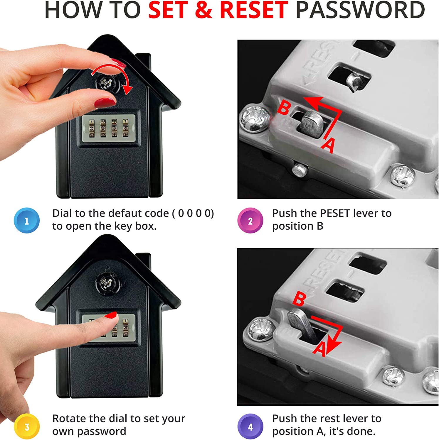 Black PALMAT House Shaped Secure Combination Key Safe Outdoor Wall Mounted for Security with Medium Sized Internal Storage for House or Office Keys and Strong 4 Digit Lock and Additonal Security Key