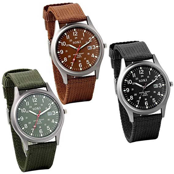 Jewelrywe Lot of 3 Wholesale Mens Nylon Strap Quartz Wrist Watches with Night Vision
