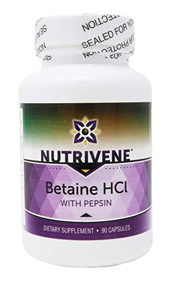 Amazon.com: nutrivene: Betaine HCL con Pepsin (90 Cápsulas ...