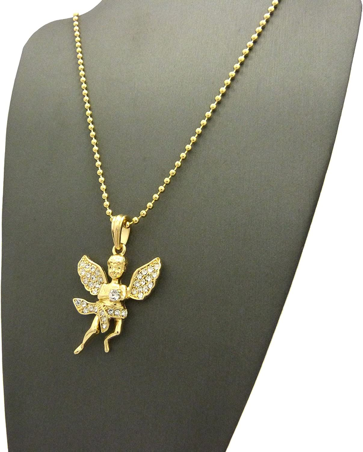 NYFASHION101 Stone Stud Dancing Flying Angel Pendant w//Chain Necklace