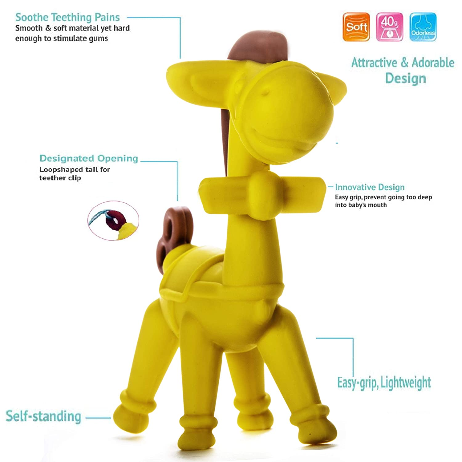 Ange Silicone Teethers For Baby Carrier and Horse Baby Teething Toy For Toddler