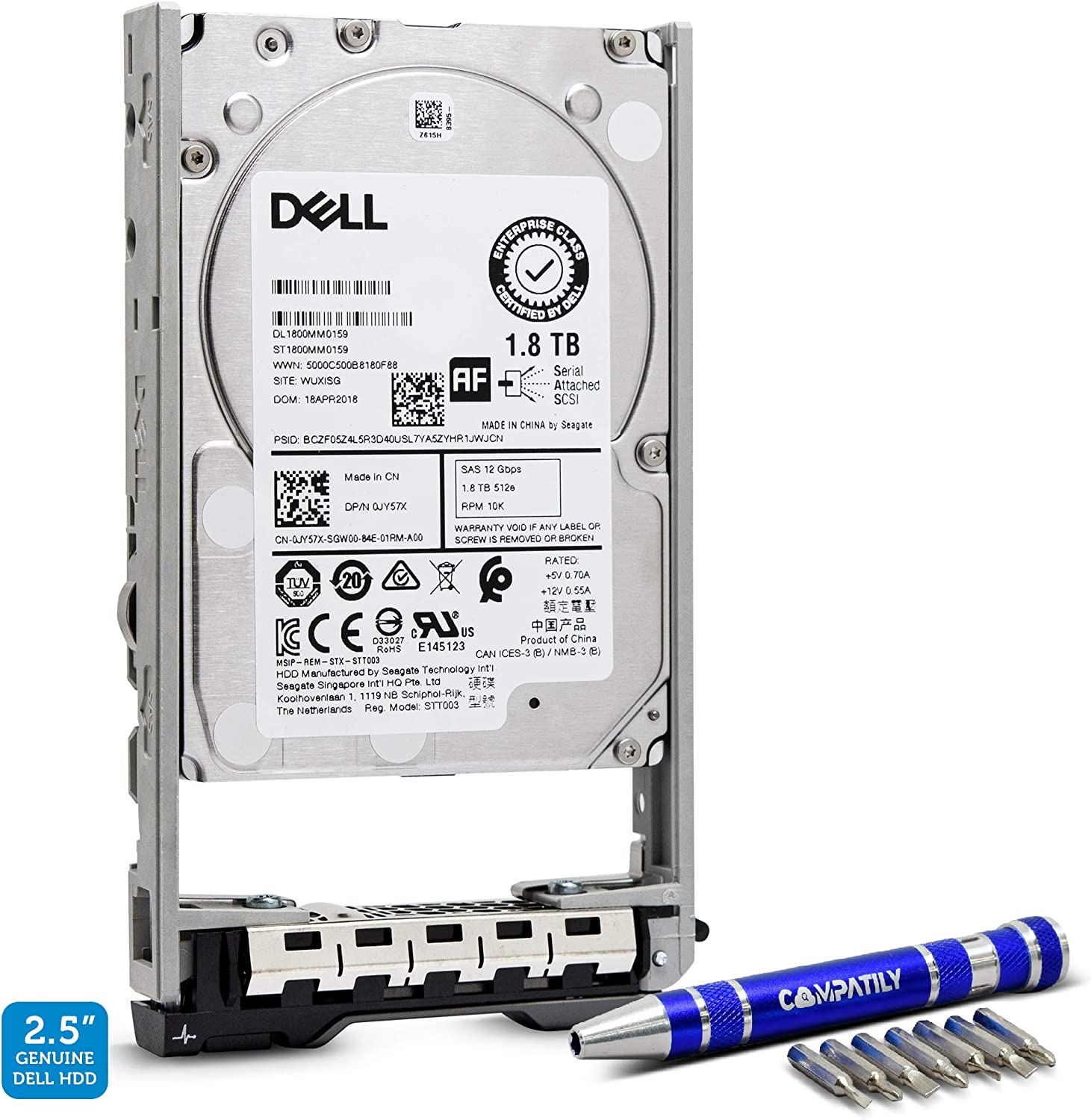 Dell 400-AJQP 1.8TB 10K RPM SAS 12Gb/s 2.5-Inch Hard Drive in 13G Tray Bundle with Compatily Screwdriver Compatible in PowerEdge R630 R730 R730XD R430 T430 R230 PowerVault ME4024 ME424