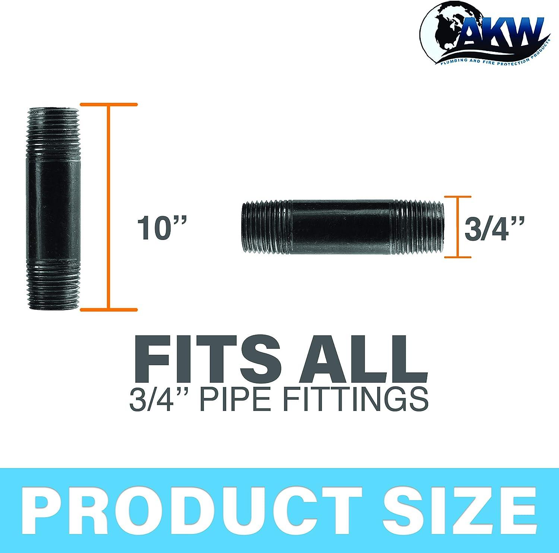 Plumbing AKW DIY Furniture Black Nipple Malleable Industrial Steel Threaded Pipe Nipples and Fittings 10 Pack 10, 3//4 x Close