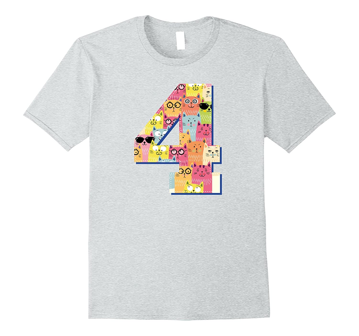 Fourth Birthday Cute Kitty Four Year Old Toddler T-Shirt-ANZ